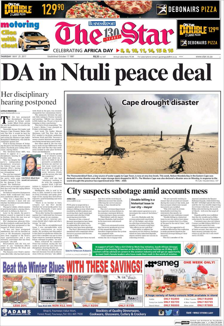 Portada de The Star (Afrique du Sud)