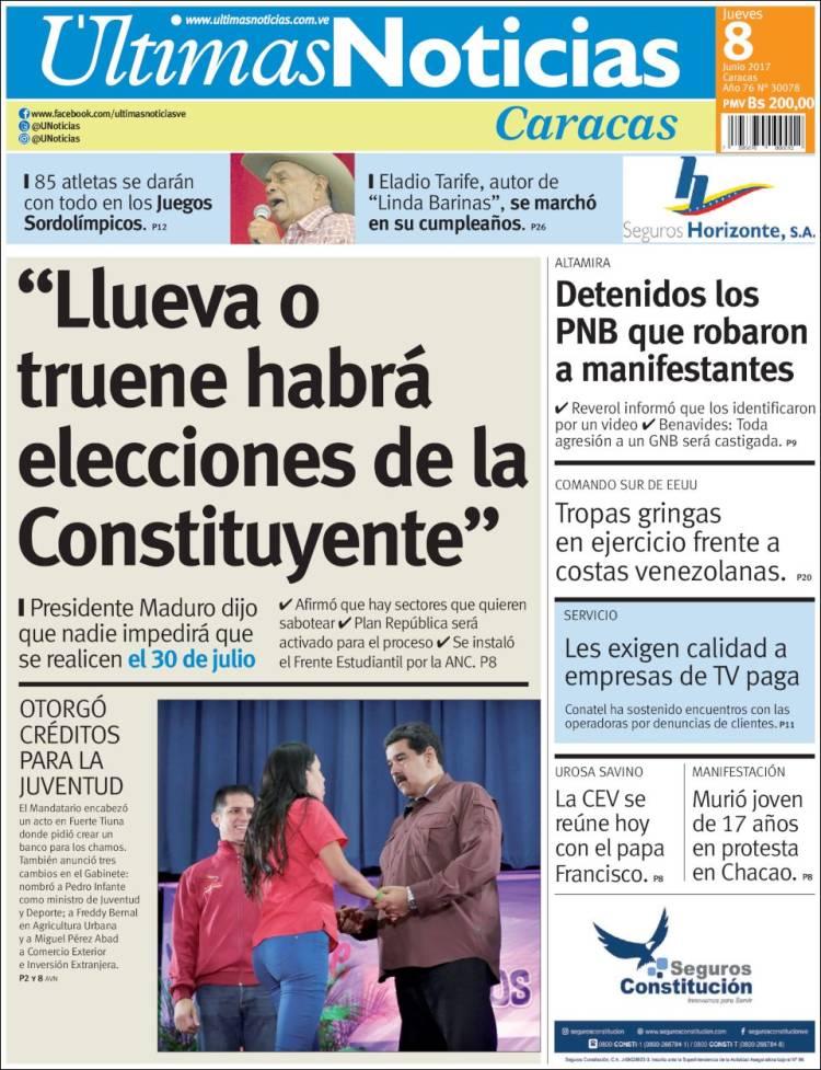 portada de ltimas noticias venezuela