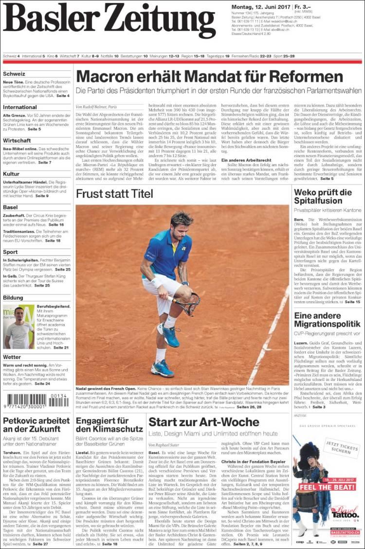 Portada de Basler Zeitung (Switzerland)