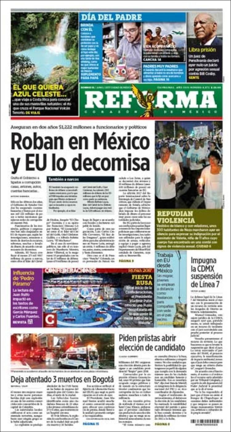 Periódico Reforma (México). Periódicos de México. Edición de domingo ... ef1a0ce5cd7