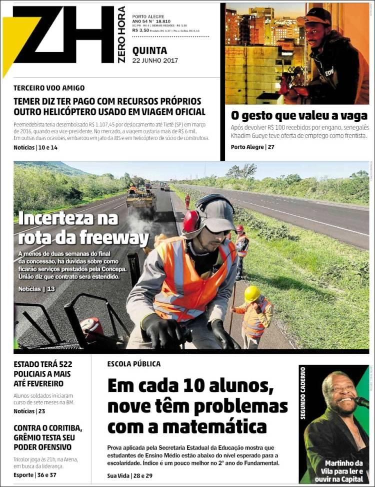 Portada de Zero Hora (Brésil)