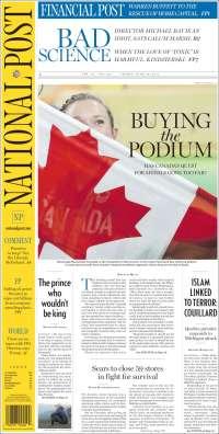 Portada de The National Post (Canada)
