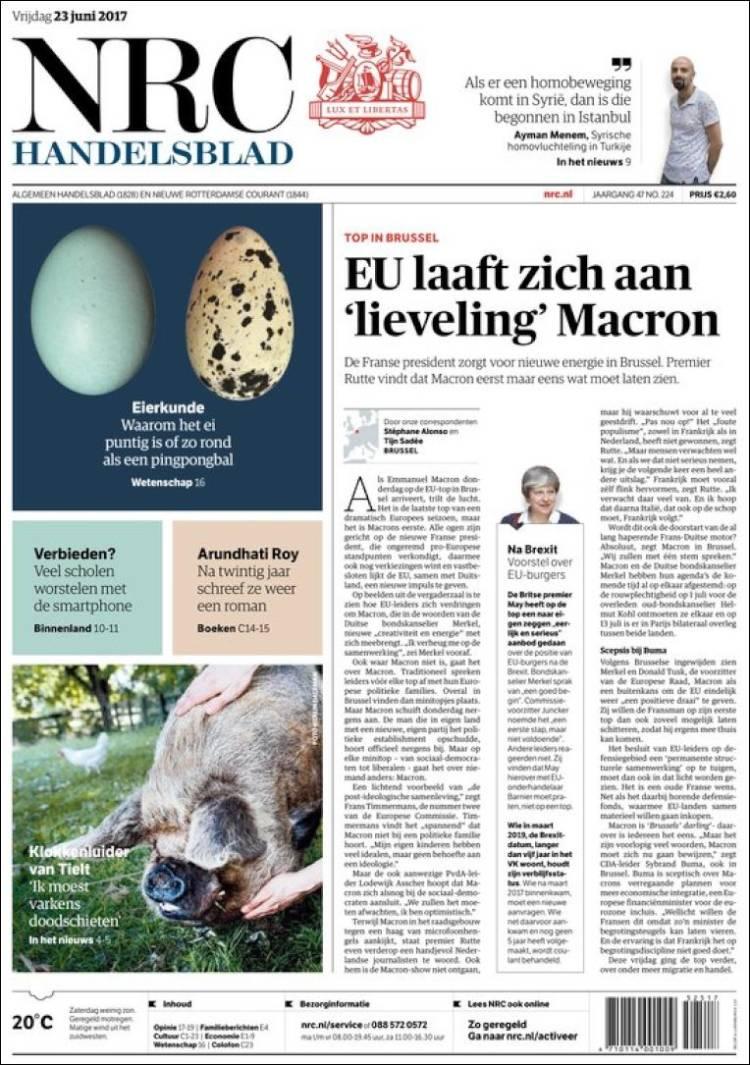 Portada de NRC Handelsblad (Países Bajos)