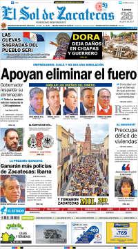 Portada de El Sol de Zacatecas (México)