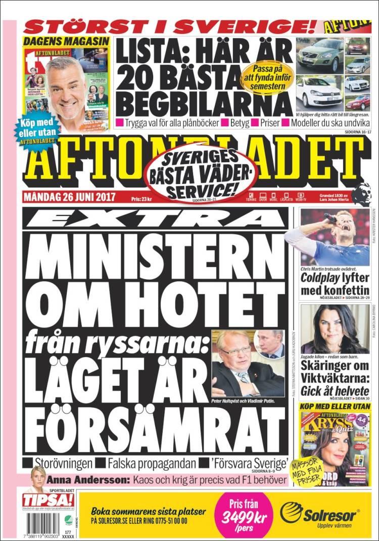 Portada de Aftonbladet (Suède)