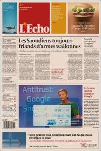 Portada de L'Echo (Belgique)