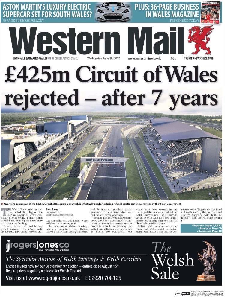 Portada de Western Mail (Reino Unido)