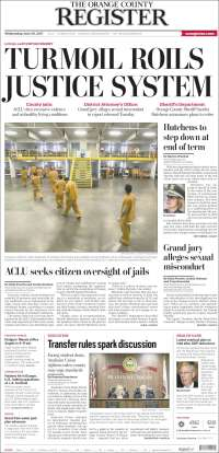Portada de The Orange County Register (USA)