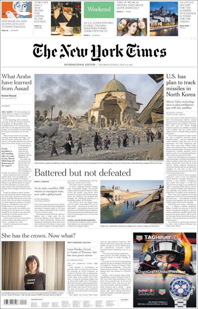 Portada de International New York Times (Europa)