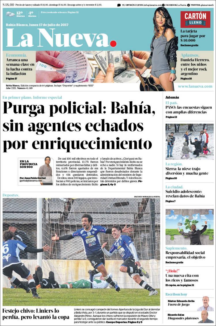 Portada de La Nueva Provincia (Argentine)