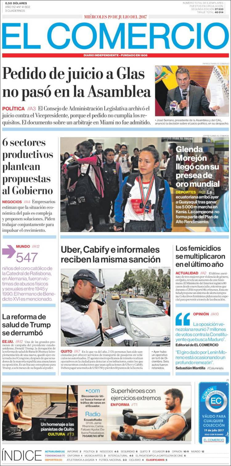 Portada de El Comercio (Équateur)