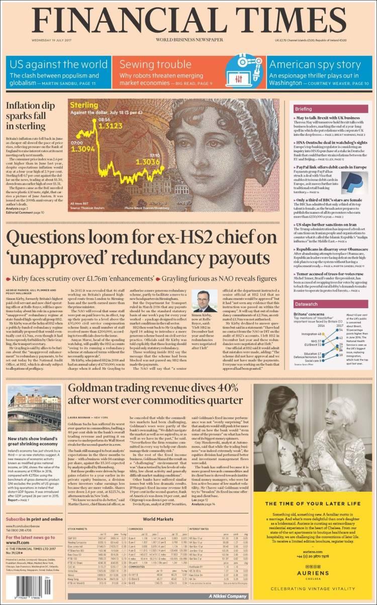 Portada de Financial Times (Royaume-Uni)