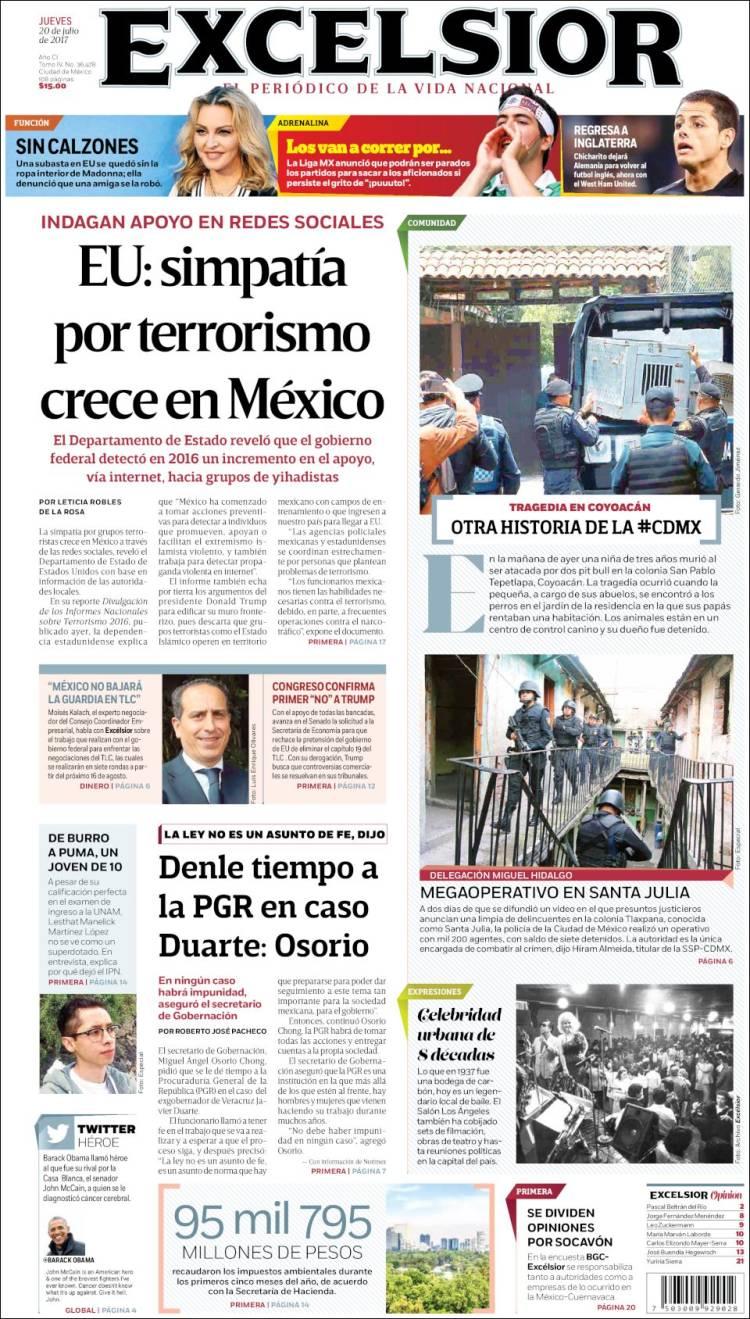 Portada de Excelsior (Mexique)