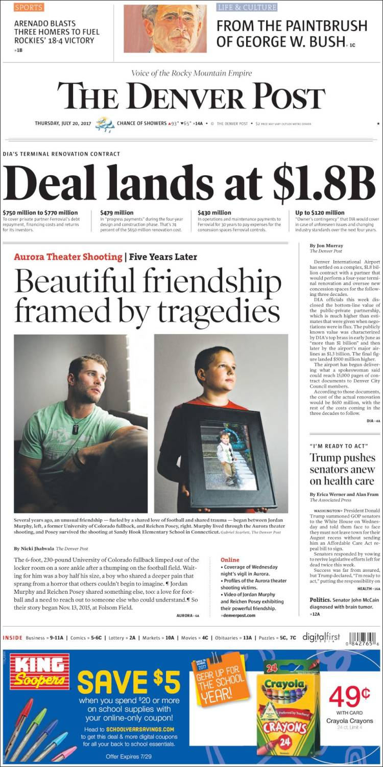 Portada de The Denver Post (États-Unis)