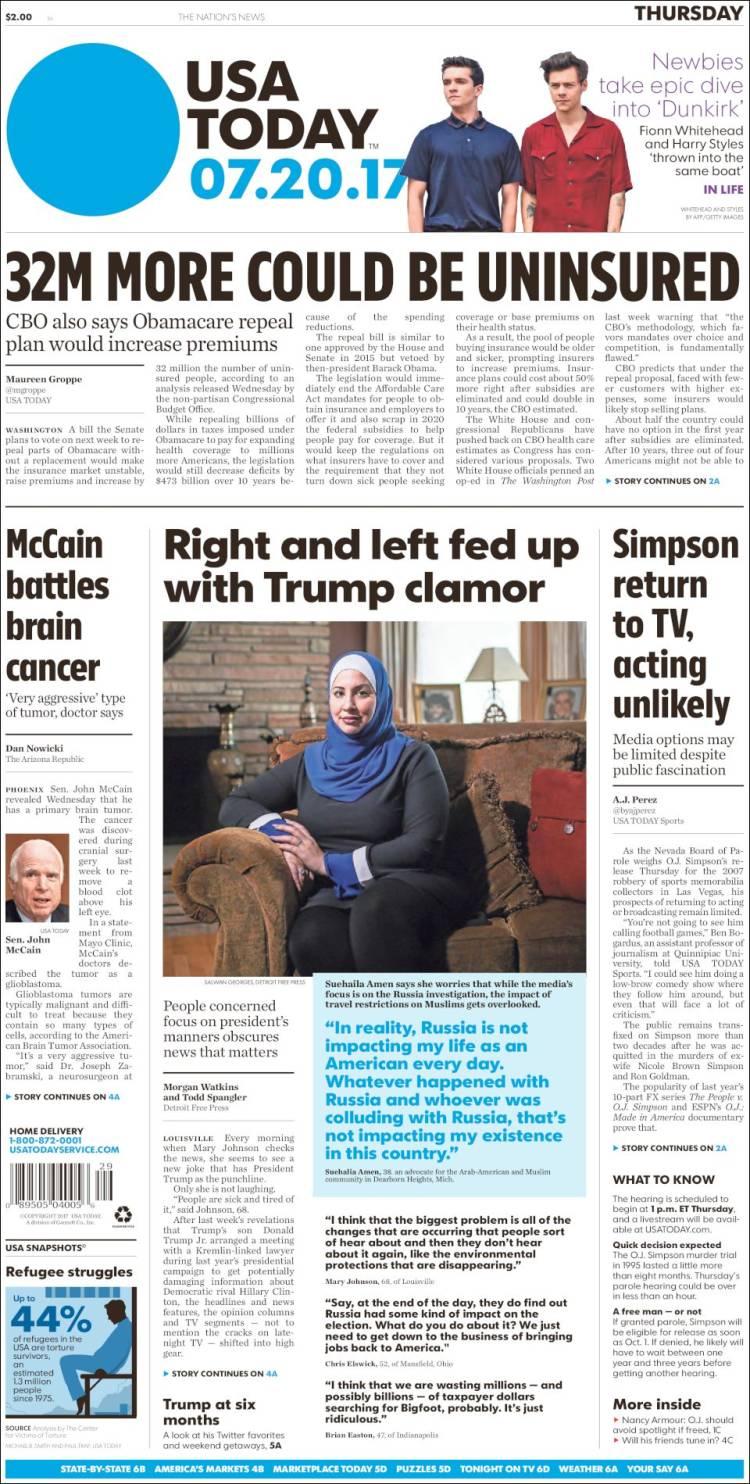 Portada de USA Today (États-Unis)