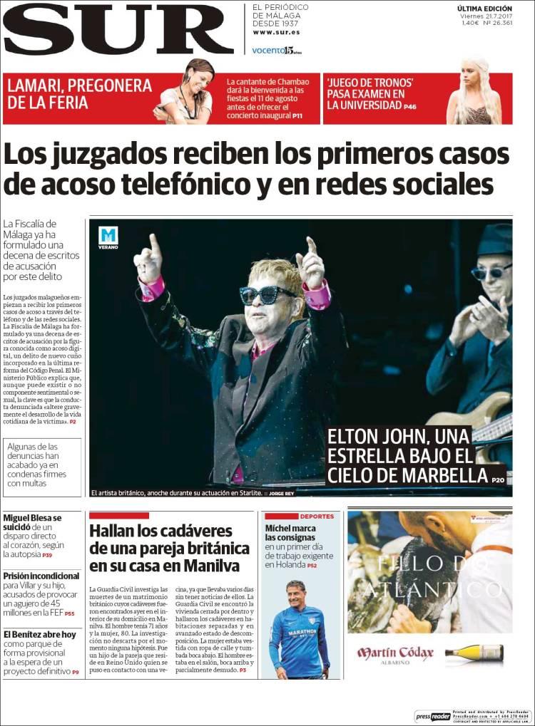 Portada de Diario el Sur (España)