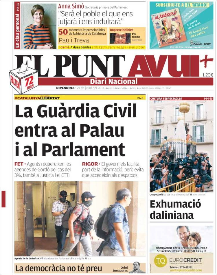 Portada de El Punt Avui (Spain)