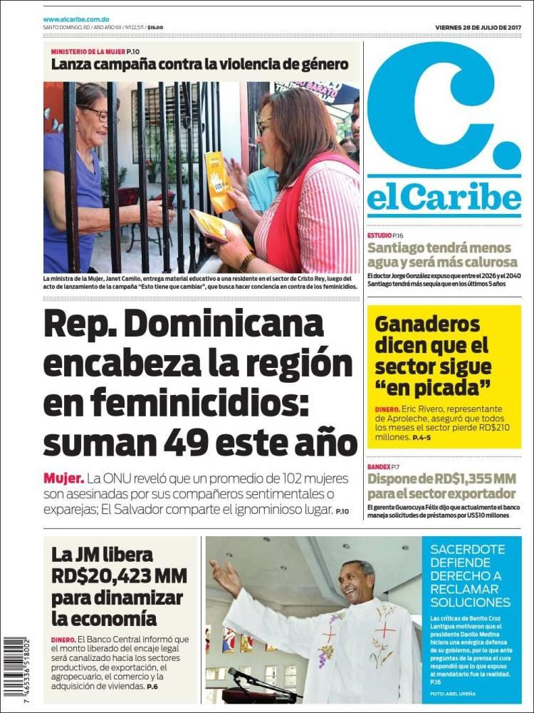 Portada de El Caribe (R. Dominicana)