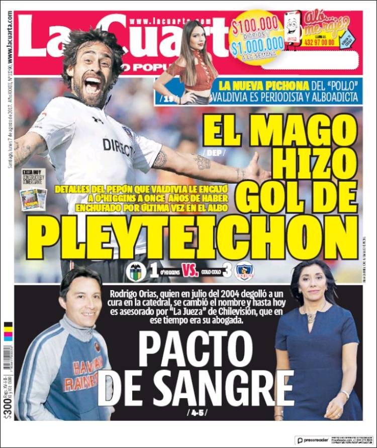Newspaper La Cuarta (Chile). Newspapers in Chile. Monday\'s edition ...