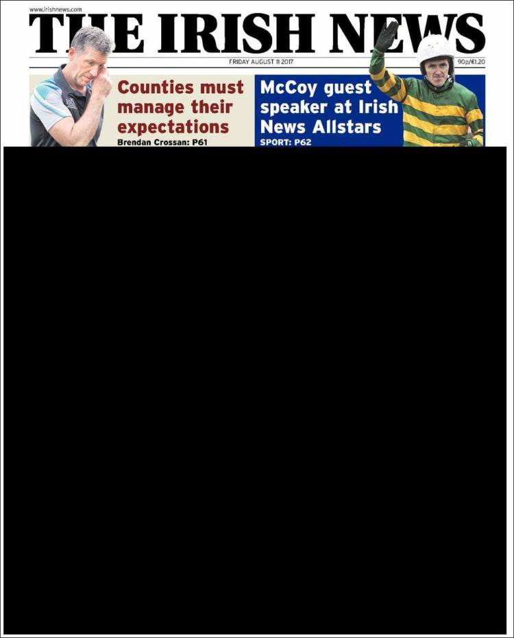Portada de The Irish News (Irlande)