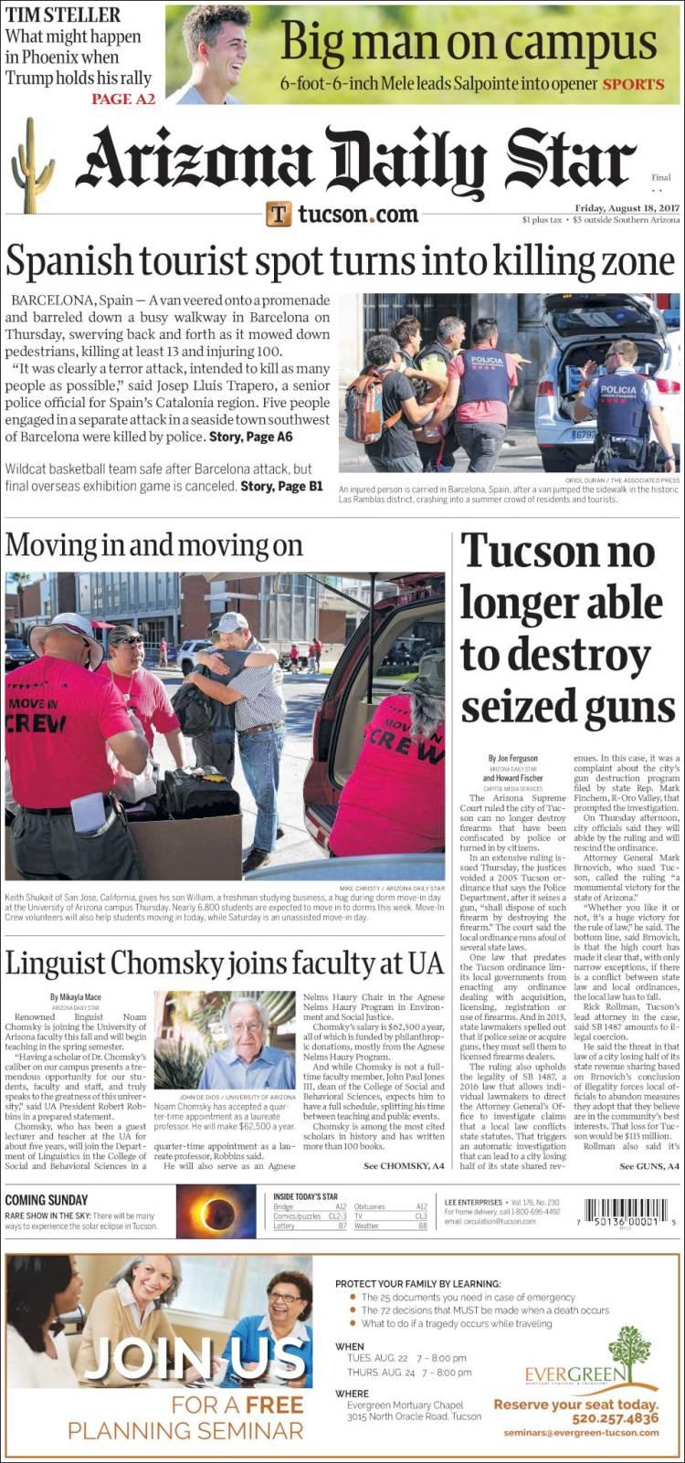 Portada de Arizona Daily Star (USA)