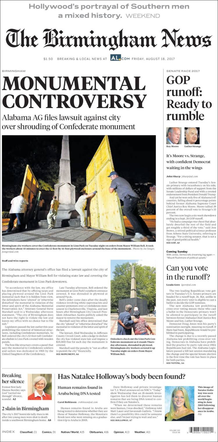 Portada de Birmingham News (USA)
