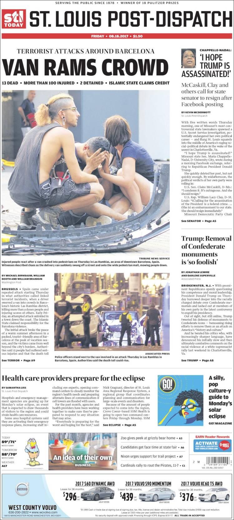 Portada de St. Louis Post-Dispatch (USA)