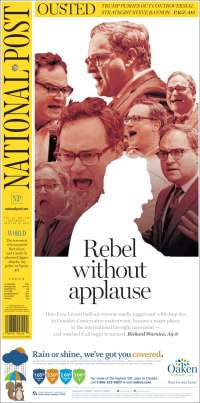 Portada de The National Post (Canada)