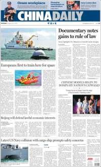 Portada de China Daily (Chine)