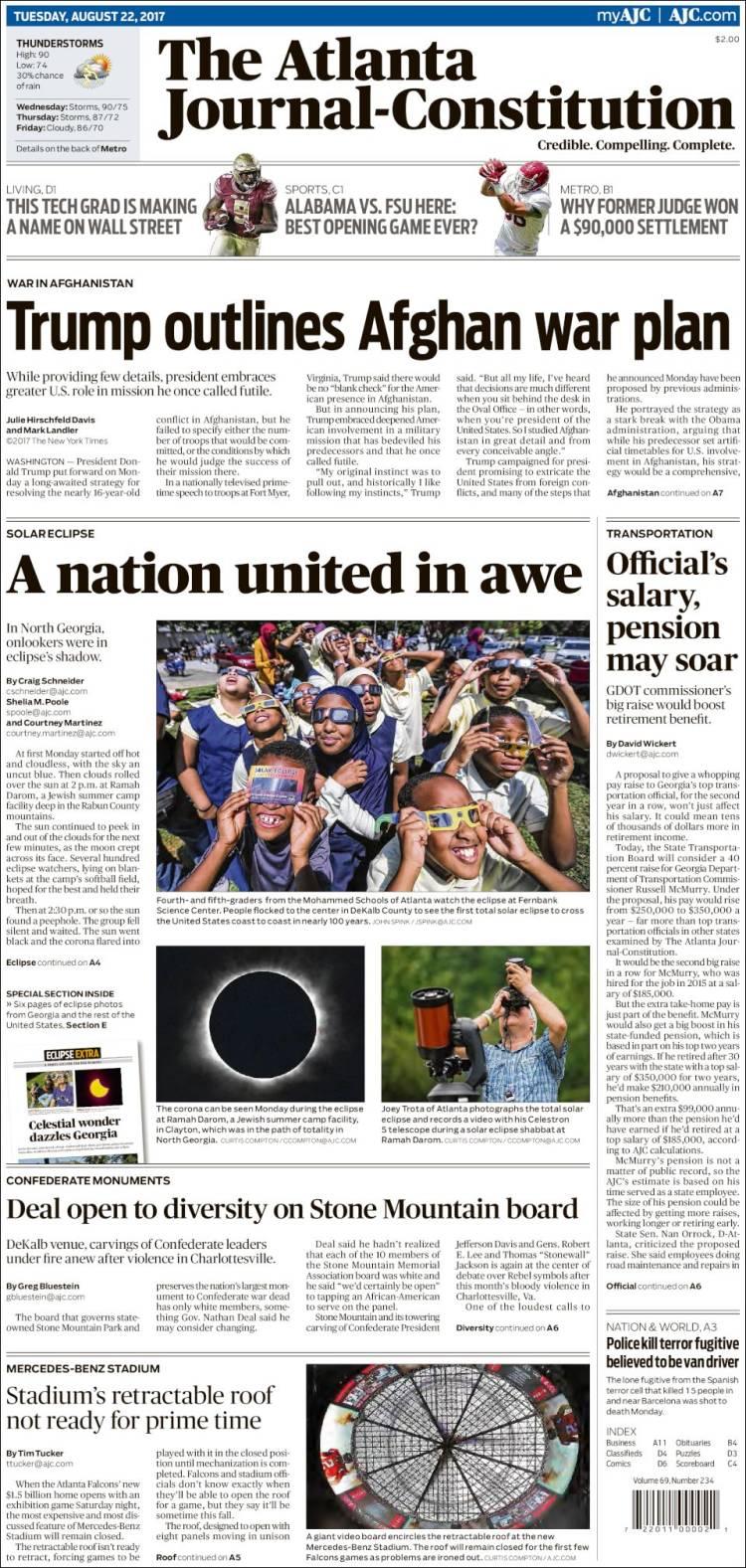 Portada de The Atlanta Journal-Constitution (États-Unis)