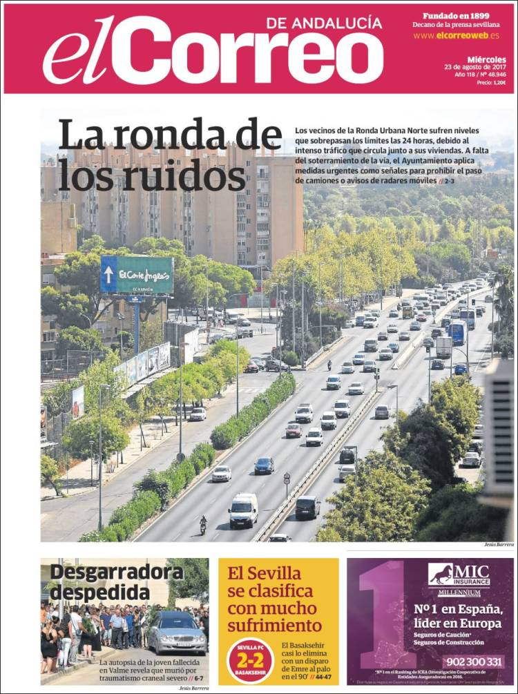 Portada de El Correo de Andalucía (España)