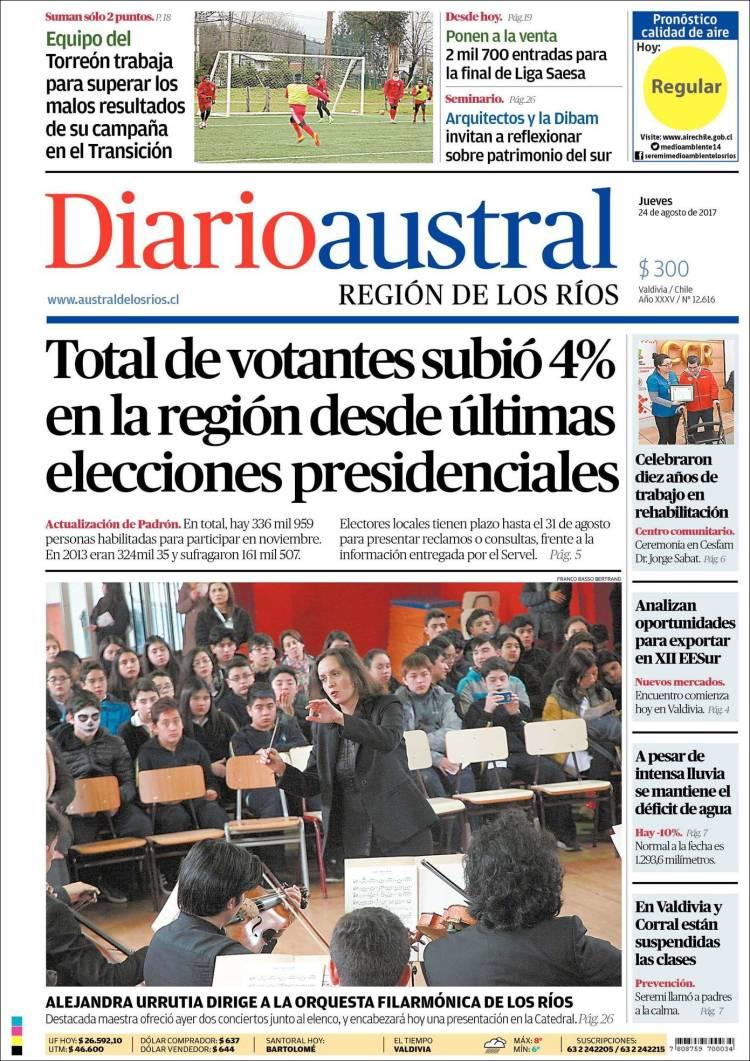 Portada de El Diario Austral de Valdivia (Chili)