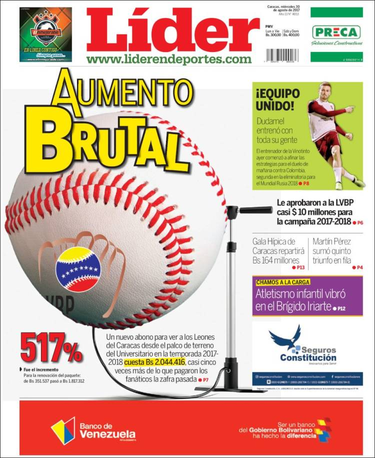 Newspaper Lider En Deportes Venezuela Newspapers In Venezuela
