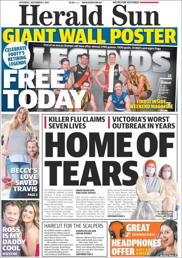 Portada de Herald Sun (Australia)