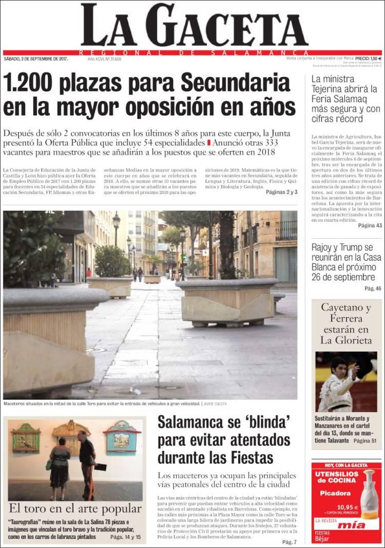 Portada de La Gaceta de Salamanca (España)