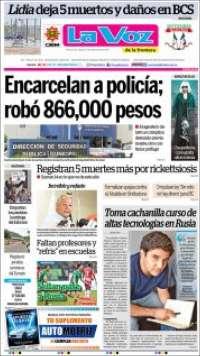 Portada de La Voz de la Frontera (México)
