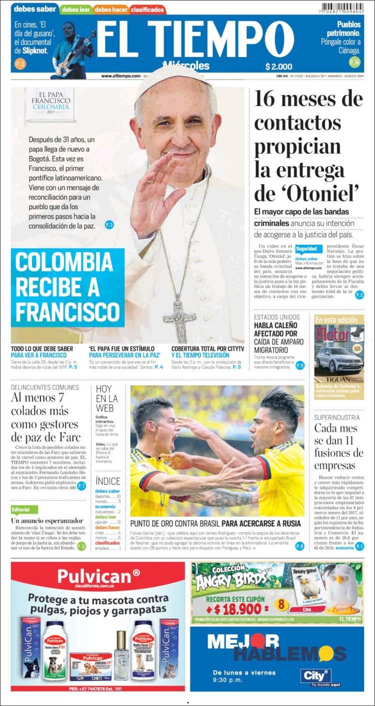portada de el tiempo colombia