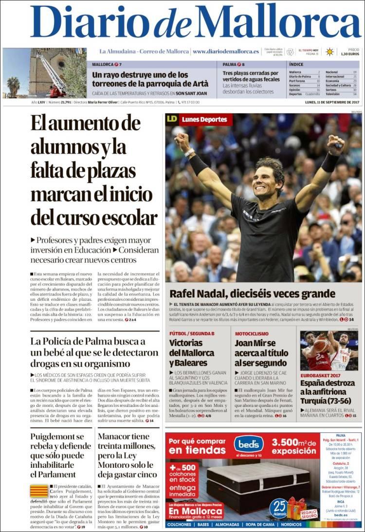 Couverture Diario de Mallorca (Espagne)
