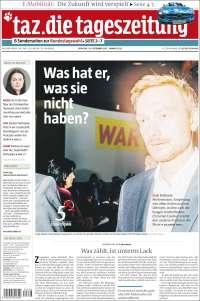 Portada de Die Tageszeitung (Allemagne)