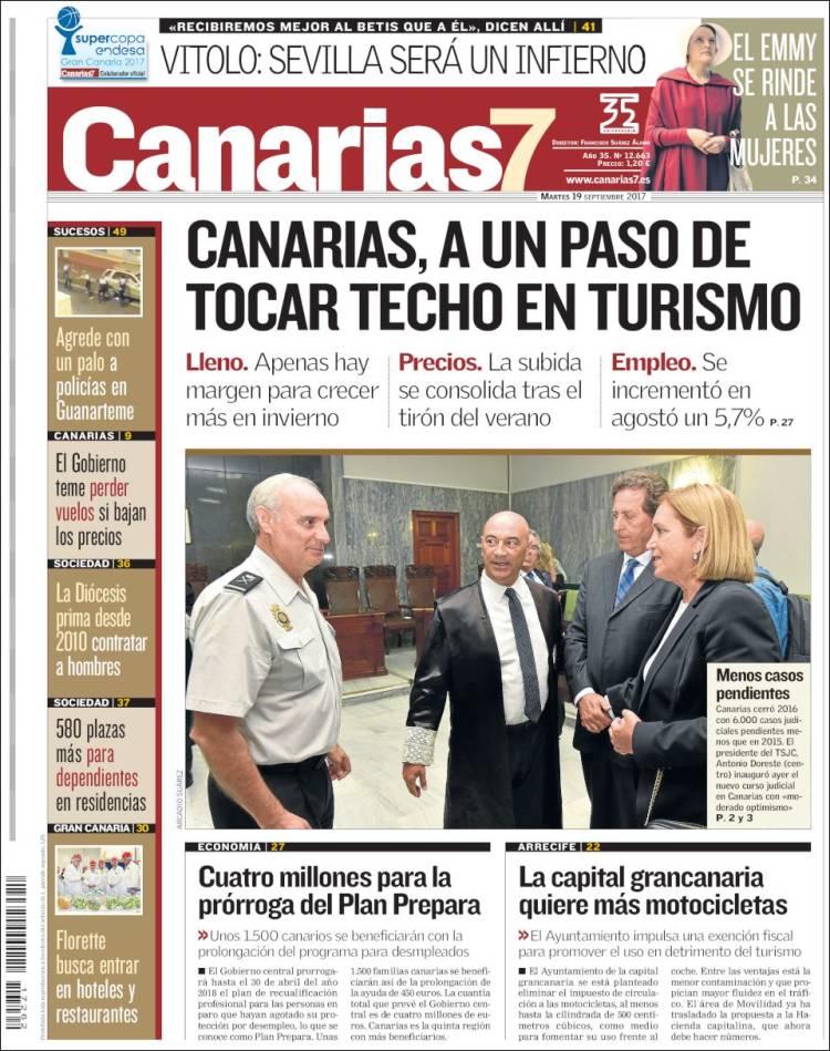 Portada del Canarias 7 del día 19/09/2017