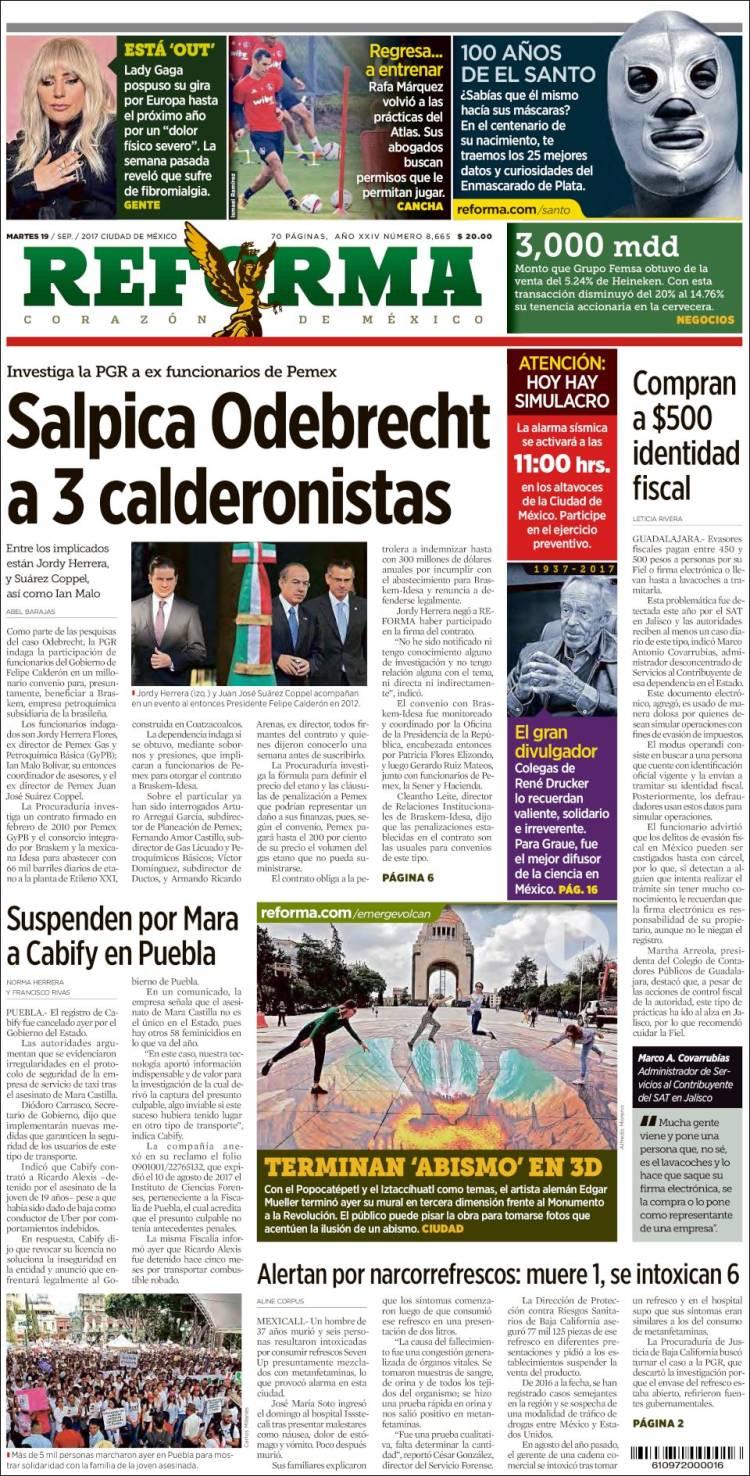 bc2f0554ad Periódico Reforma (México). Periódicos de México. Edición de martes ...