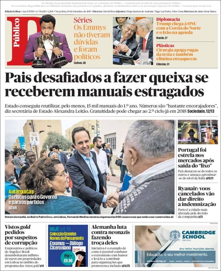 Portada de Público (Portugal)
