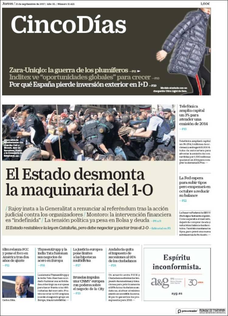 Portada de Cinco Días (España)