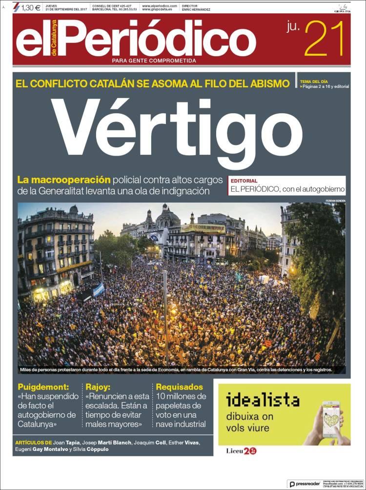 Portada de El Periódico (Espagne)