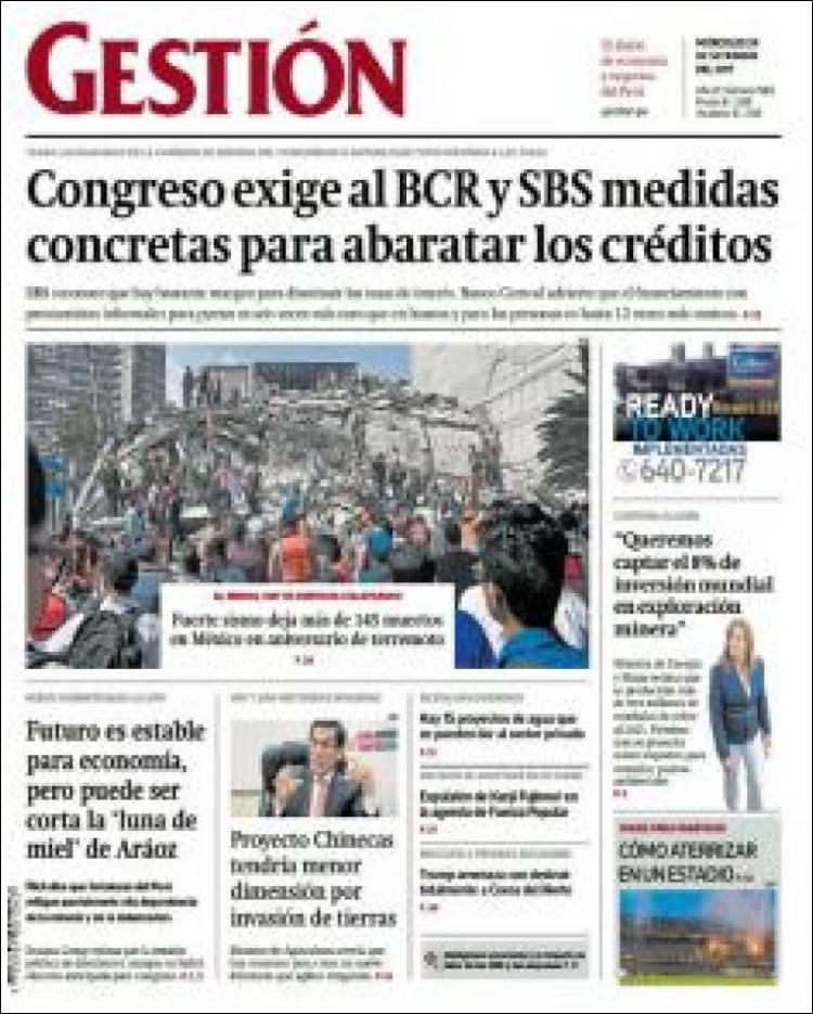 Portada de Diario Gestión (Peru)