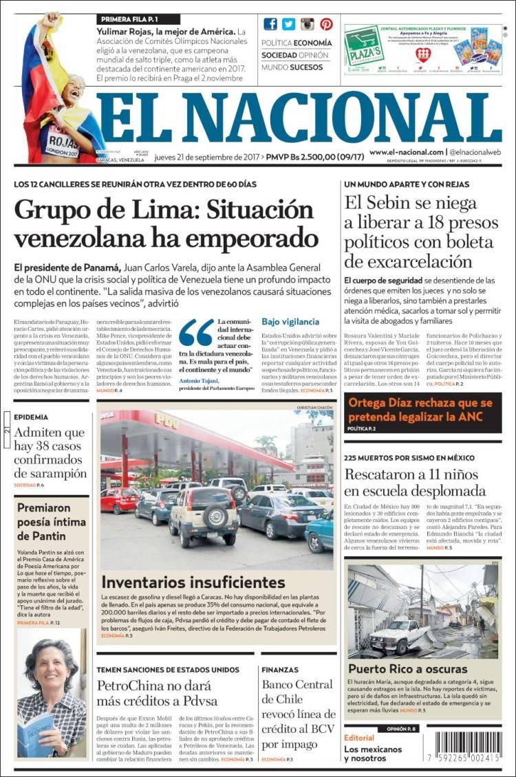 Periodico El Nacional Venezuela Periodicos De Venezuela Edicion De Jueves 21 De Septiembre De 2017 Kiosko Net