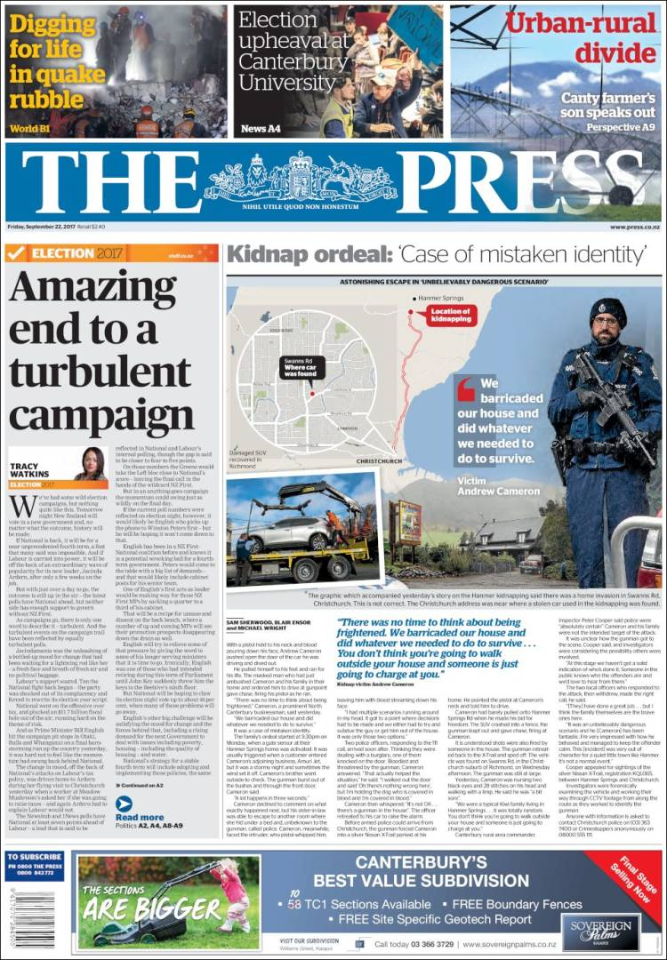 Portada de The Press (New Zealand)