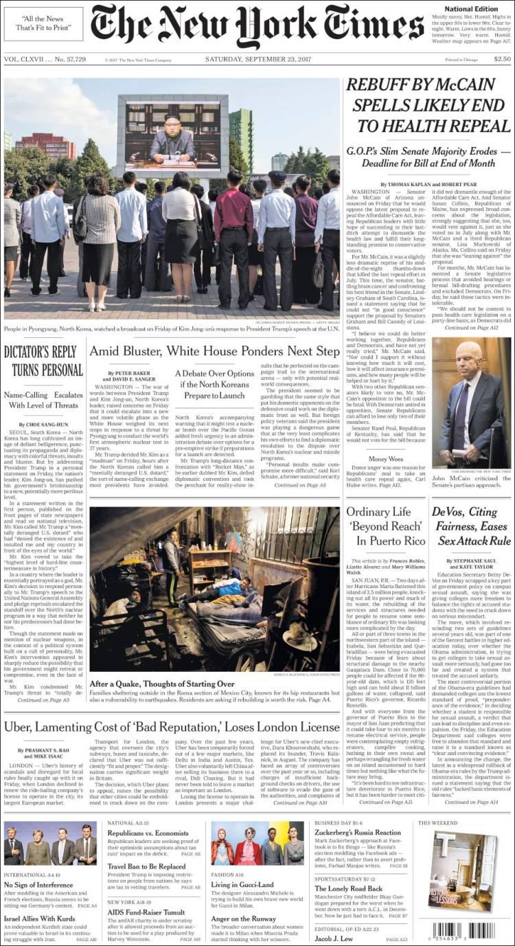 Portada de New York Times (USA)