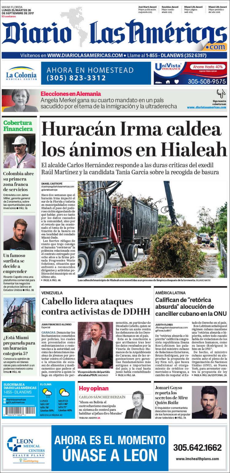 Portada de Diario Las Américas (États-Unis)