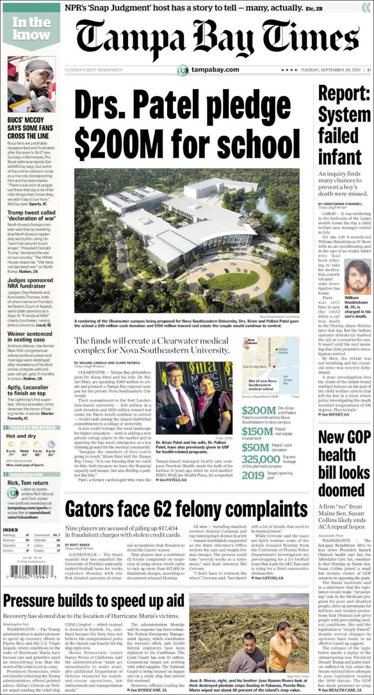 Portada de Tampa Bay Times (États-Unis)